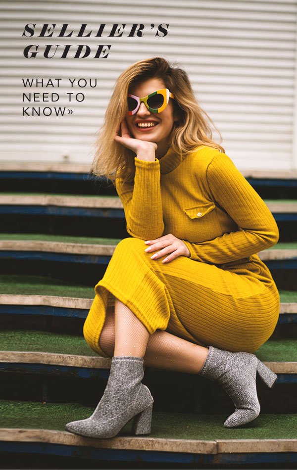 Woman in yellow dress for seller's guide